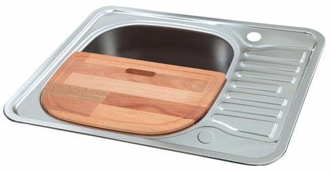 Polished Reversible Stainless Steel Sink With Chopping Board (LA006)