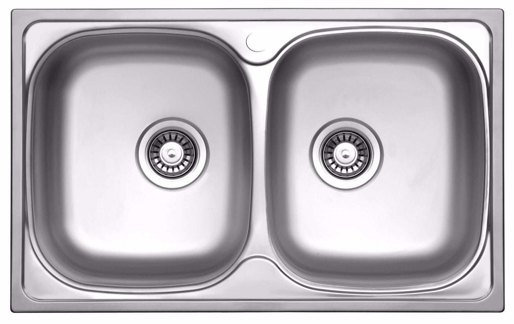 780 X 480mm Polished Double Bowl Stainless Steel Sink La004