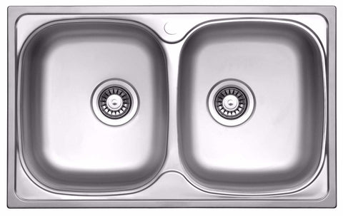 780 x 480mm Polished Double Bowl Stainless Steel Sink (LA004)