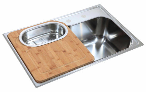 Inset Polished Stainless Steel Kitchen Sink With Chopping Board And Colander (LA003)