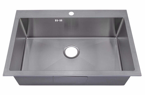740 x 480mm Top Mount / Inset Single Bowl Handmade Satin Stainless Steel Kitchen Sink With Tap Hole and Easy Clean Corners (DS028-1)