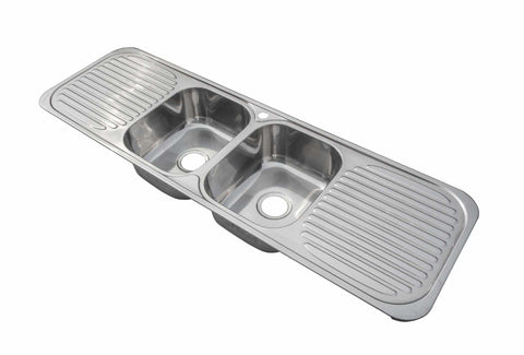 Polished 2 Bowl Double Drainer Stainless Steel Sink (F01)