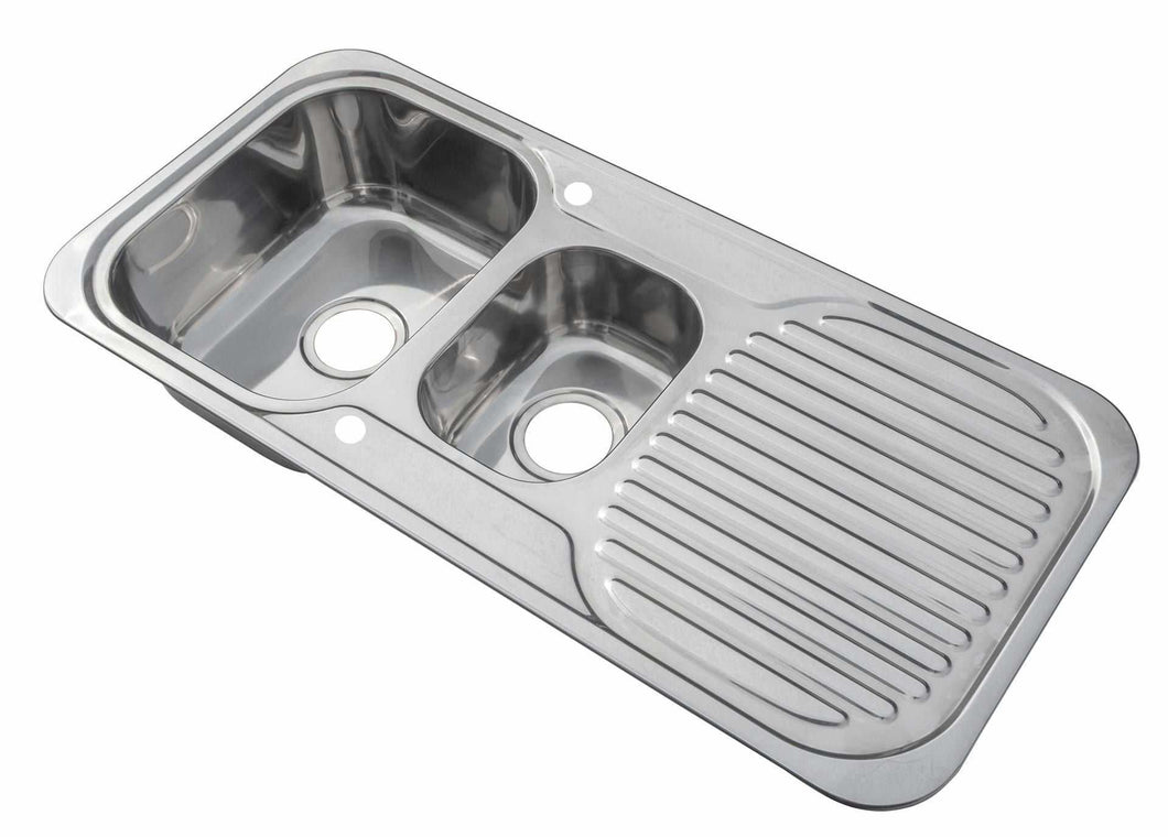 1000 x 480mm Polished Reversible 1.5 Bowl Stainless Steel Inset Sink (E01)