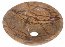 Load image into Gallery viewer, Round Rain Forest Brown Stone Counter Top Basin in 3 Sizes (B0042, B0048, B0049)