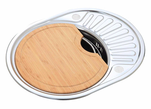 Polished Inset Reversible Round Stainless Steel Kitchen Sink & Drainer With Wooden Chopping Board And Wire Basket (LA001)