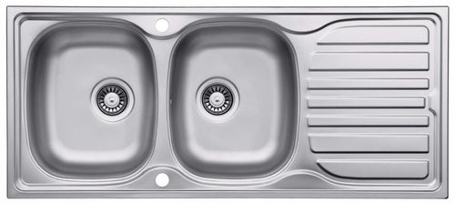 1160 x 500mm Inset Double Kitchen Sink With Drainer | Grand Taps