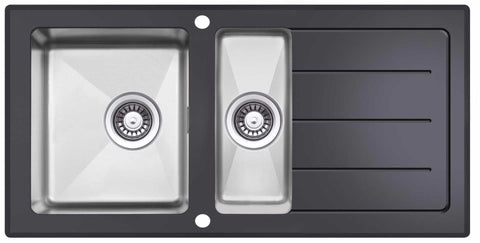 Reversible Black Glass & Stainless Steel 1.5 Bowl Sink (LA011)