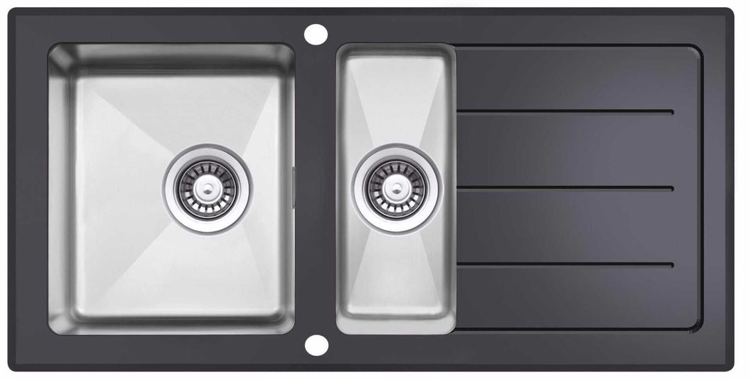 1000 x 500mm Reversible Black Glass & Stainless Steel 1.5 Bowl Sink (LA011)
