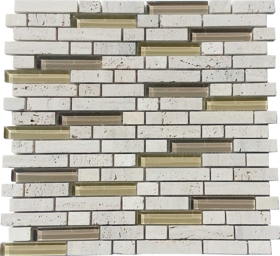 Natural Colour Glass And Stone Brick Mosaic Bathroom Tiles | Grand Taps