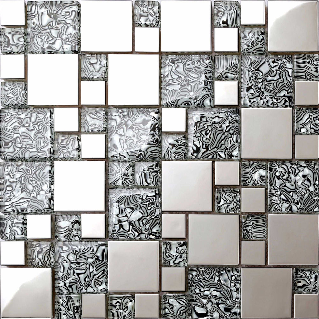 Patterned Glass Amp Polished Stainless Steel Mosaic Tile