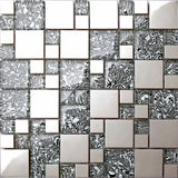 Black & White Patterned Glass & Polished Stainless Steel Mosaic Tiles Sheet (MT0132)