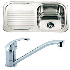 Polished Inset Reversible Stainless Steel Kitchen Sink & Kitchen Mixer Tap (KST008)
