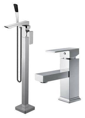 Freestanding Bath + Basin Mixer Tap Set + Shower (Weser 81)