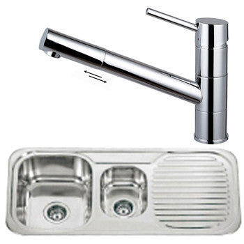 Polished Inset Reversible 1.5 Bowl Stainless Steel Kitchen Sink & Kitchen Mixer Tap (KST026)