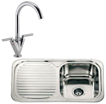 Polished Inset Reversible Stainless Steel Kitchen Sink & Kitchen Mixer Tap (KST012)