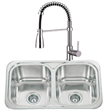 765 x 480mm Polished Inset 2.0 Bowl Stainless Steel Kitchen Sink & Kitchen Mixer Tap (KST061)