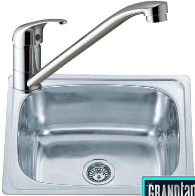 610 x 510mm Inset Polished Stainless Steel Kitchen Sink & Kitchen Mixer Tap (KST118)