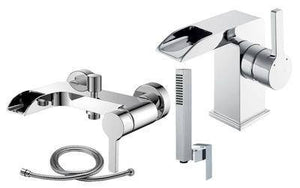 Open Spout Bath & Basin Mixer Tap Set + Shower (Meuse 41)