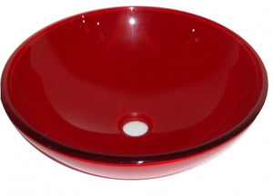 Red Tempered Glass Round Bowl Bathroom Wash Basin And Click Clack Waste B0033