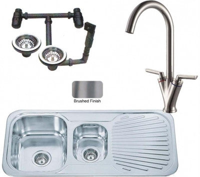 Brushed Inset Stainless Steel Kitchen Sink 1.5 Bowls & Brushed Tap (KST126 bs)