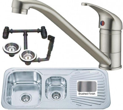Brushed E02 Inset Stainless Steel Kitchen Sink 1.5 Bowls & Mixer Tap (KST127 bs)