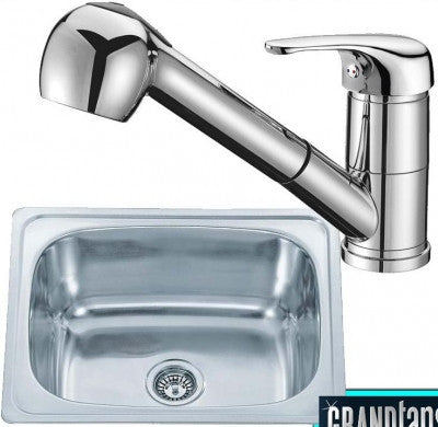 610 x 510mm Inset Polished Stainless Steel Kitchen Sink & Kitchen Mixer Tap (KST121)