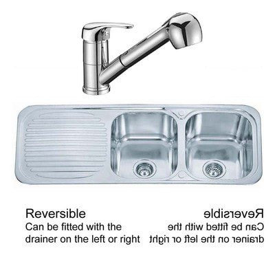 1180 x 480mm Polished Inset Reversible 2.0 Bowl Stainless Steel Kitchen Sink & Kitchen Mixer Tap (KST092)