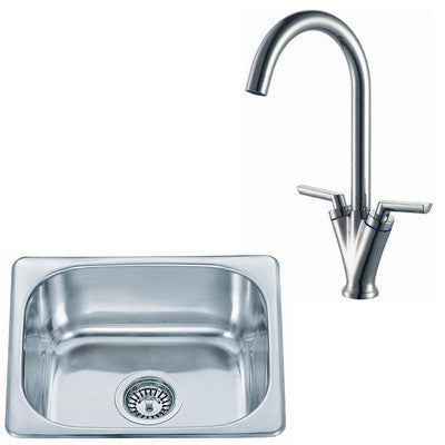 420 x 363mm Polished Inset Stainless Steel Kitchen Sink & Kitchen Mixer Tap (KST100 mr)