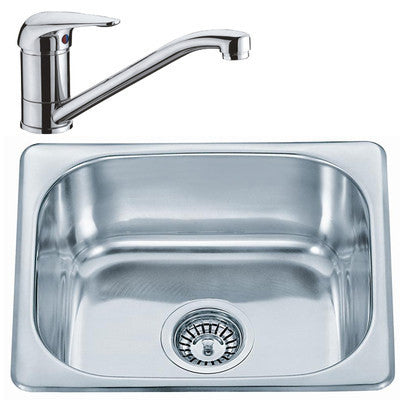 Polished Inset Stainless Steel Kitchen Sink & Kitchen Mixer Tap (KST052)