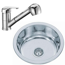 Load image into Gallery viewer, 425mm Polished Inset Round Stainless Steel Kitchen Sink & Kitchen Mixer Tap (KST089)