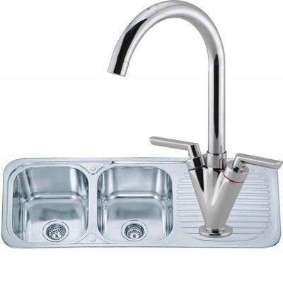 Polished Inset Reversible 2.0 Bowl Stainless Steel Kitchen Sink & Kitchen Mixer Tap (KST045)