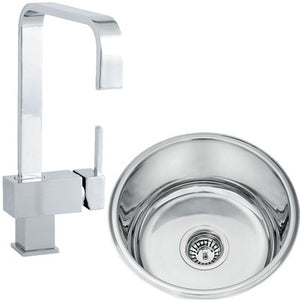 Set of 445mm Polished Undermount Round Stainless Steel Kitchen Sink + Kitchen Mixer Tap (KST115)