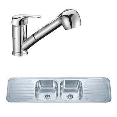 1500 x 480mm Polished Inset 2.0 Bowl Double Drainer Stainless Steel Kitchen Sink & Kitchen Mixer Tap (KST096)