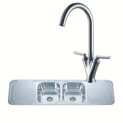 1500 x 480mm Polished Inset 2.0 Bowl Double Drainer Stainless Steel Kitchen Sink & Kitchen Mixer Tap (KST106)