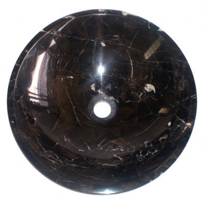 430mm x 135mm Counter Top Stone Black Night Snow Round Basin (B0012)