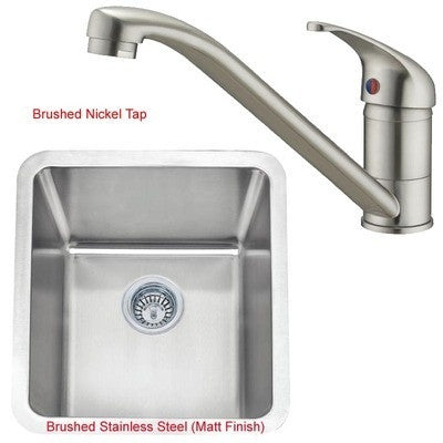411 x 461mm Brushed Undermount Stainless Steel Kitchen Sink & Kitchen Mixer Tap (KST109 bs)