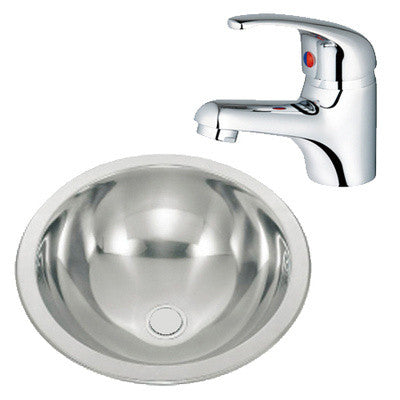 425mm Polished Inset Stainless Steel Basin + Basin Mixer Tap (M06 & Aero 1)
