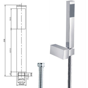 Square Design Microphone Shower Head, Hose & Riser Rail (SH065)