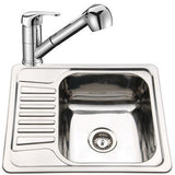 Set of 580 x 480mm Polished Inset Reversible Stainless Steel Kitchen Sink + Kitchen Mixer Set (KST088)