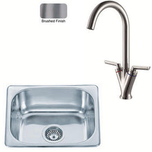 Load image into Gallery viewer, 420 x 363mm Brushed Inset Stainless Steel Kitchen Sink & Kitchen Mixer Tap (KST100 BS)
