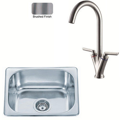 420 x 363mm Brushed Inset Stainless Steel Kitchen Sink & Kitchen Mixer Tap (KST100 BS)