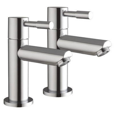 Hot & Cold Minimalist Chrome Basin Pillar Taps (Lola 2)