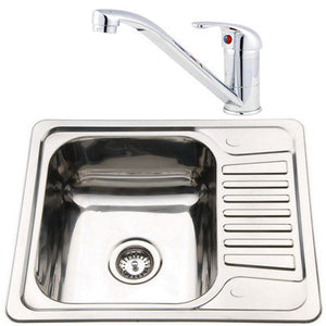 580 x 480mm Inset Reversible Stainless Steel Sink & Mixer Tap | Grand Taps