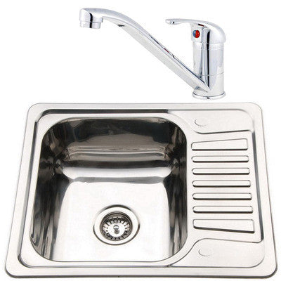 Set of 580 x 480mm Polished Inset Reversible Stainless Steel Kitchen Sink + Kitchen Mixer Tap (KST072)