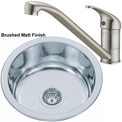 Set of 445mm Brushed Inset Round Stainless Steel Kitchen Sink + Kitchen Mixer Tap (KST017 bs)