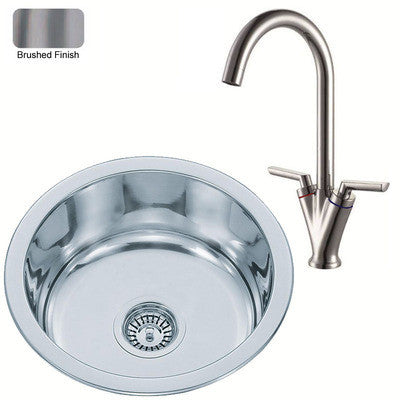 Brushed Inset Round Stainless Steel Kitchen Sink & Kitchen Mixer Tap (KST010 bs)
