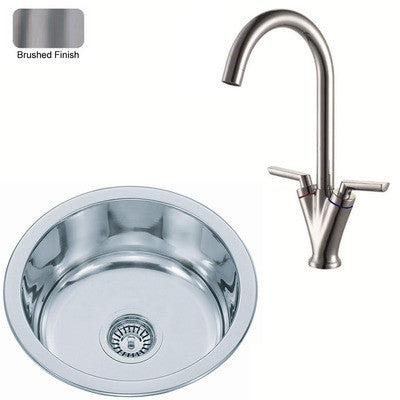 425mm Brushed Inset Round Stainless Steel Kitchen Sink & Kitchen Mixer Taps (KST101 bs)