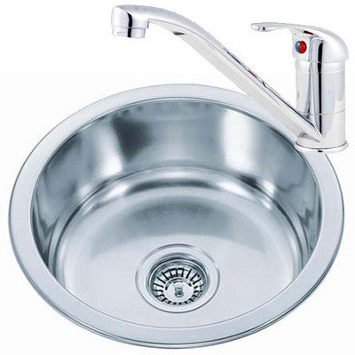 425mm Polished Inset Round Stainless Steel Kitchen Sink & Kitchen Mixer Tap (KST073 mr)