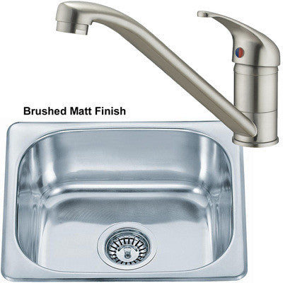 Brushed Inset Stainless Steel Kitchen Sink & Kitchen Mixer Tap (KST043 BS)
