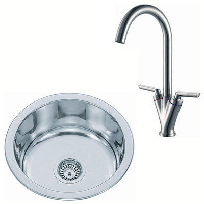 425mm Polished Inset Round Stainless Steel Kitchen Sink & Kitchen Mixer Tap (KST101 mr)